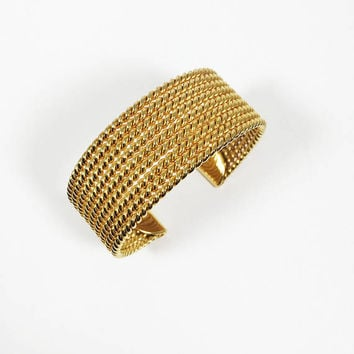 Vintage 1980s 1990s Gold Tone AVON SH Signed Nine Row Twisted Rope Design Cuff Bangle Bracelet