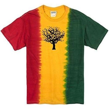 Yoga Clothing for You Mens Black Tree of Life Rasta Tie Dye T-Shirt