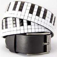 Studded Belts - Piano Key Studded Belt Black Leather