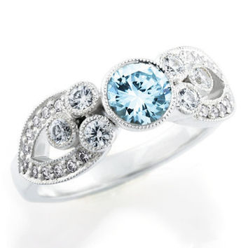 Aquamarine Engagement Ring. Diamond. Multi stone ring. Vintage style. Millegrain. Bezel set. Luxury Diamond Ring.