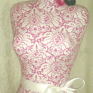 Pink Damask Dress Form jewelry display with wood stand. Paris mannequin torso designs great as home decor french manikin white accents.