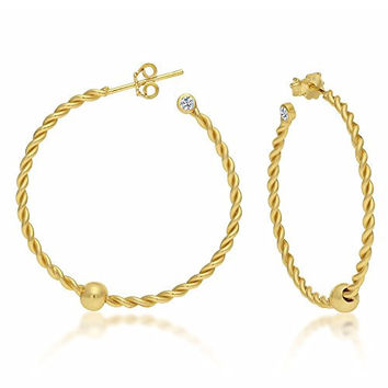 Sterling Silver Cape Cod Earrings Twisted Hoop Gold Finish Body and Ball with CZ