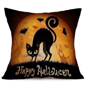 1pc 45*45cm Happy Halloween Series Cushion Cover Cat Pumpkin Square Throw Pillow Cover for Sofa Home Party Decoration Pillowcase
