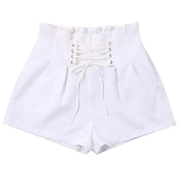 Hot Shorts ZAFUL Women Ruffle Lace Up  High Elastic Waist Bowknot Solid Short Pants Casual Summer Female  2018 New Arrival XLAT_43_3