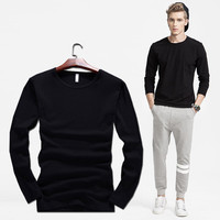 Summer T-shirts Korean Slim Cotton Long Sleeve Round-neck Men's Fashion Bottoming Shirt [6541356931]