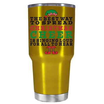 TREK The Best Way to Spread Christmas Cheer on Translucent Gold 30 oz Tumbler Cup