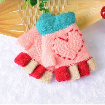 Colorful Children Kids Girls Soft Knitting Warm Gloves Heart Pattern Wool Fingerless Luvas Rainbow Finger Half Covered Glove
