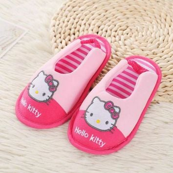 Hello Kitty Girls Slippers Comfortable Cotton Soft Bottom Home House Kids Indoor Bedroom Children Shoes