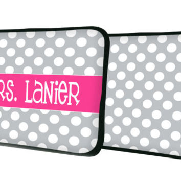 "Custom LAPTOP MACBOOK Sleeve Polka Dot band Initials Monogram 11"" 12"" 13"" 14"" 15"" - Personalized Monogram - Design Printed on Front AND Back"