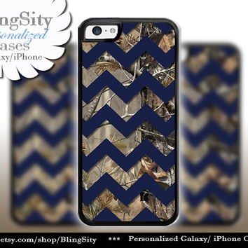 Monogram iPhone 5C 6 6 Plus Case Camo Navy Chevron iPhone 5s iPhone 4 case Ipod 4 5 case Real Tree Personalized Country Inspired Girl