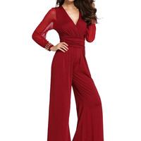 Fashion V Neck Long Rivet Sleeve Wide Leg Jumpsuit - NOVASHE.com