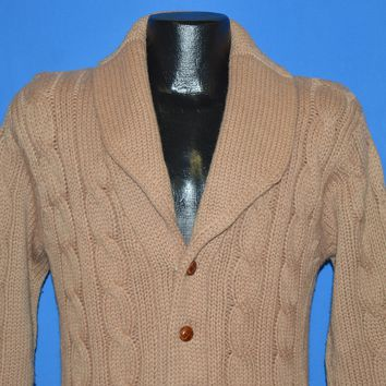 70s Brown Cable Knit Shawl Collar Sweater Medium