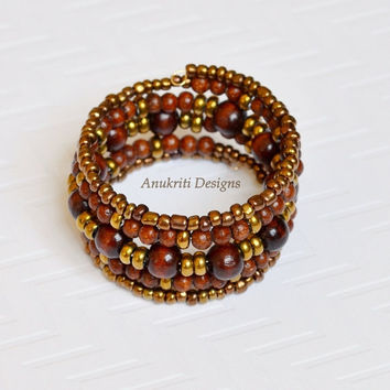 Brown wood beaded memory wire bracelet **Free US shipping ** Boho bracelet, Beaded bracelet, wrap bracelet