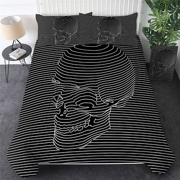 💀🛏 Skull Comforter Cover Stripes Bedding Set Gothic Home 3-Piece