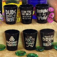 Funny Printed 1.5oz Black Shot Glass Series - 6 Pack