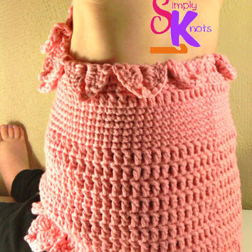 Handmade Summer Crochet Toddler Halter Top, Girls' Cotton Shirt, Ready to Ship Pink Open Back Beachwear, Crocodile Stitch 2T Halter