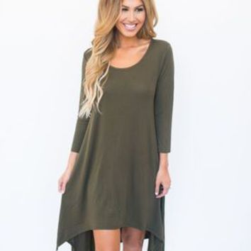 High-Low Tunic Dress- Olive