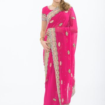 Seychelles Pink Ready-Made Pre-Pleated Party wear Sari