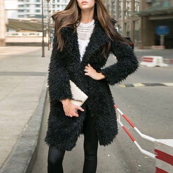Shearling Open Front Lapel Coat