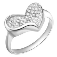 18K White Gold Plated Heart Crystal Pave Cocktail Ring - Size 8