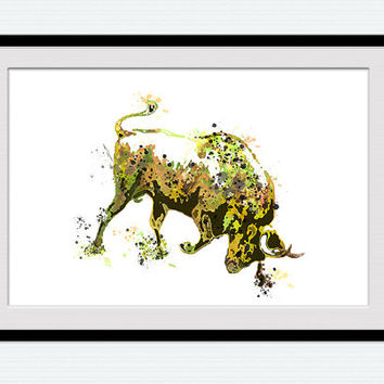 Taurus watercolor poster Bull colorful print Animal watercolor decor Home decoration Living room decor Wall hanging Christmas gift W442