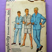 Vintage Men's Pajamas Mens' Size Large 42 - 44 Simplicity 4007 Sewing Pattern Uncut