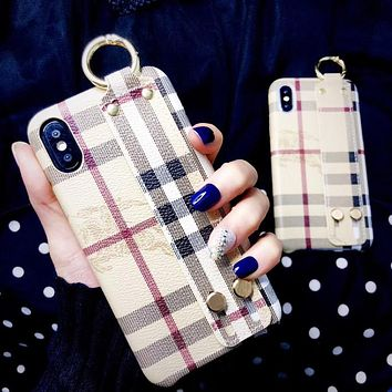 Burberry Fashion New Plaid Women Men Wristband Protective Cover Phone Case