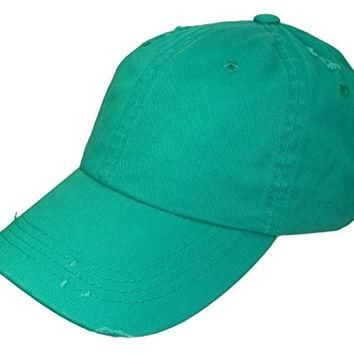 Distressed Weathered Vintage Polo Style Baseball Cap (One Size, Kelly Green)