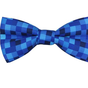 Blue Pixelated Men's Bow Tie