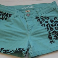 Turquoise Shorts, Cheetah Print Hand Painted Details