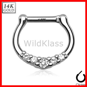 14k Gold Ring 16G 14G Solid White Gold Septum Clicker Ring Five Paved Nipple Ring Cartilage Helix Hex Piercing Tragus Jewlery Conch Ring