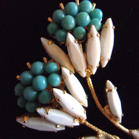 WEISS Unsigned Turquoise Milk Glass Flower Brooch, Navettes, Vintage