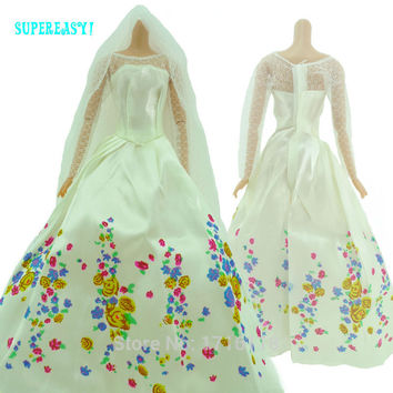 "Fairy Tale Princess Dress Copy Cinderella White Wedding Gown Veil For Barbie Doll 11.5"" 12"" Puppet Play House Toys Gift Kid Love"