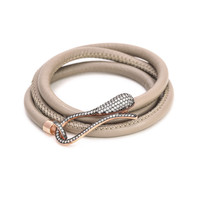 Genuine Leather Silver Snake Wrap
