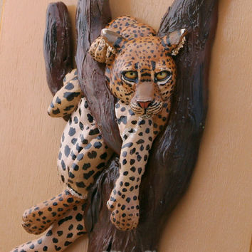 Leopard Art Jewelry Box African Wildlife Sculpture Polymer Clay Figurine on Wood Keepsake Box Animal Home Decor