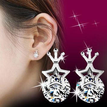 ES333 Stud Earrings For Women Fashion Jewelry Small Zircon Earring Star Crown boucle d'oreille Brincos Bijoux One Direction