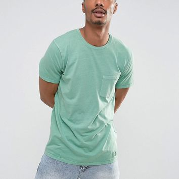 Abercrombie & Fitch Pocket T-Shirt Slim Fit Garment Dye in Green at asos.com