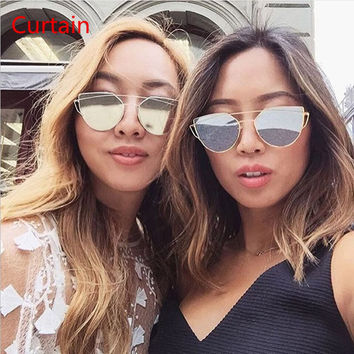 Curtain Cat eye Women Sunglasses 2016 New Brand Design Mirror Flat Rose Gold Vintage Cateye Fashion sun glasses lady Eyewear