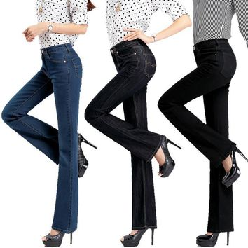 High quality Promotion Women's slim mid waist Boot Cut jeans Girls fashion nostalgic b