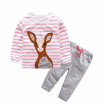 Adorable Baby Girls 2 Pc Pink Striped Deer Print Top and Pants Set