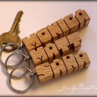 SPECIAL for 3 Wood Name Keychains Handmade to Order Choice of Walnut Oak by DustyNewtKeychains