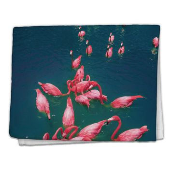 "Bright Pink Painted Flamingos 11""x18"" Dish Fingertip Towel All Over Print"