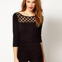 Coast Vella Knitted Top with Polka Dot Panel at asos.com