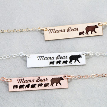 FREE SHIP • Mama Bear Necklace • Mothers Gift Mama Bear Bar Necklace Mama Baby Necklace Mom Baby Bear Cub Mama Bear Jewelry Mom New Mom Gift