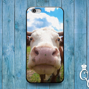 iPhone 4 4s 5 5s 5c 6 6s plus iPod Touch 4th 5th 6th Generation Cute Cow Calf Close Up Funny Animal Phone Cover Cool Custom Fun Farm Case