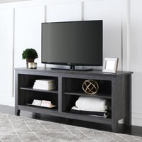 WE Furniture 58-Inch Wood Charcoal Grey TV Stand - Walmart.com