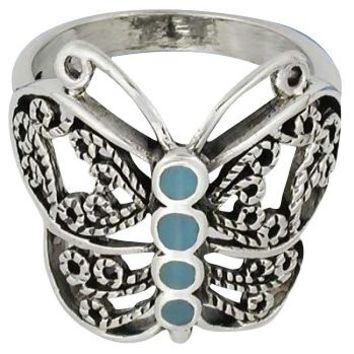 Sterling Silver Filigree Turquoise Inlay Butterfly Ring