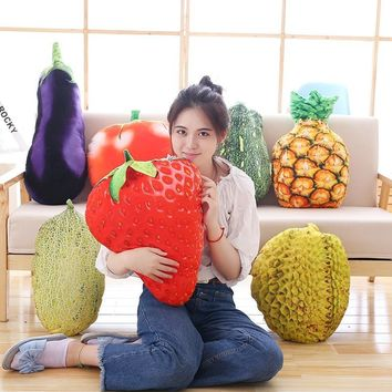 50cm fruit pillow durian pineapple strawberry tomato eggplant pumpkin vegetable pillow cushion Hami plush plants