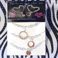 Bracelet Set, Mother, Daughter, Sisters, Best Friends, BFF, Three Piece, Coin Jewelry, Penny Charm Bracelet, Togetger We Make Cents, 3 Pcs