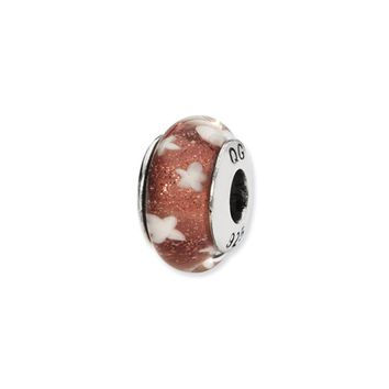 Red, White Stars Hand-Blown Glass Bead & Sterling Silver Charm, 13mm